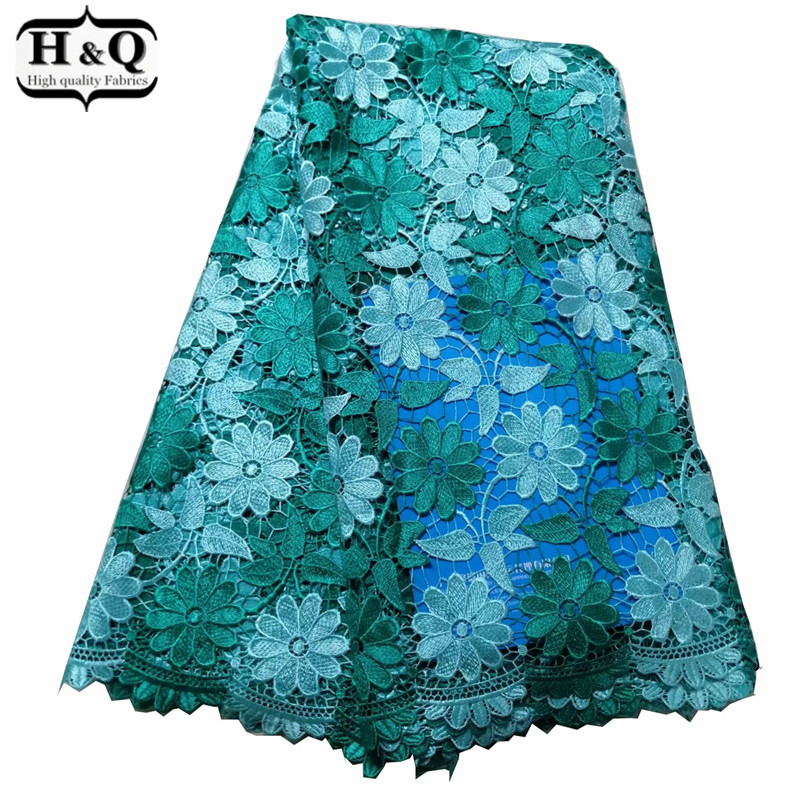 Green Flower Lace Fabric African Water Soluble Lace Fabric 5 Yards Embroidery African Cord Lace With High Quality For Long DressGreen Flower Lace Fabric African Water Soluble Lace Fabric 5 Yards Embroidery African Cord Lace With High Quality For Long Dress