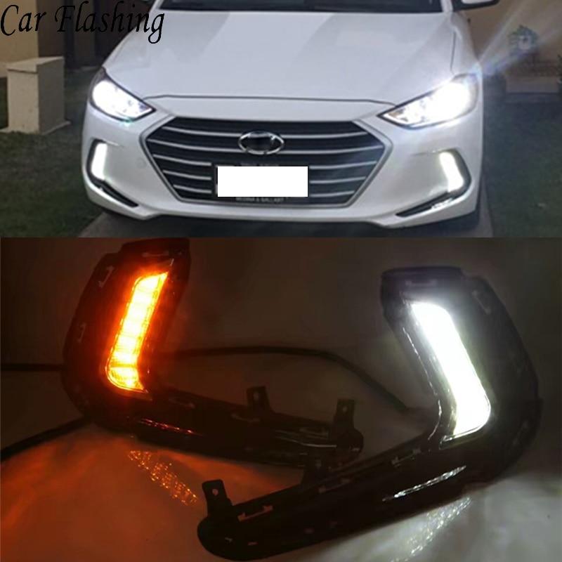 Car Flashing 2pcs Led Drl Daytime Running Light For Hyundai Elantra 2016 2017 2018 Fog Lamp