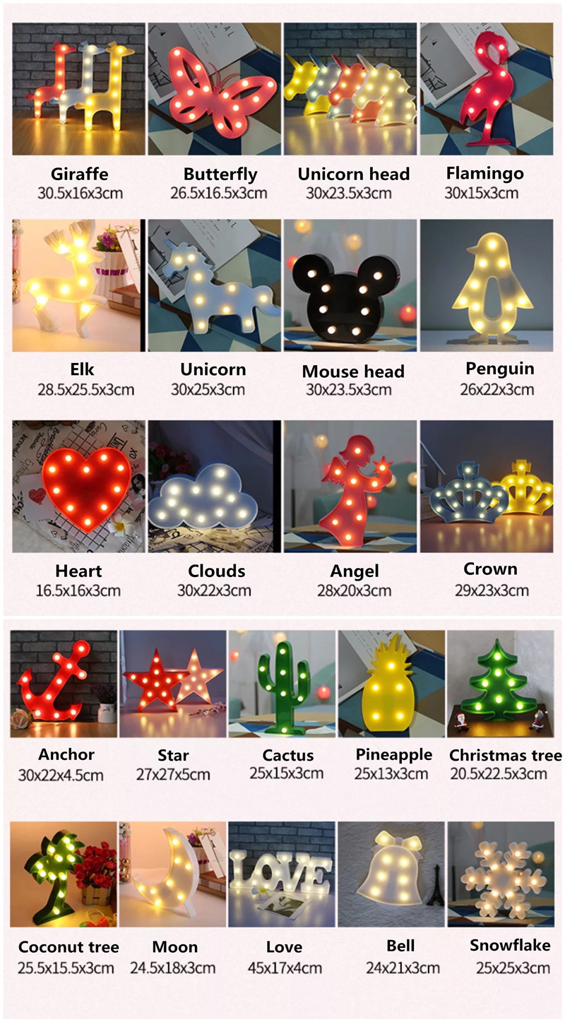 Flamingo Unicorn LED Light Baby Shower Wedding Party Home Kids DIY Decoration Star Heart Pineapple Christmas Tree 3D Desk Lamp,8 12