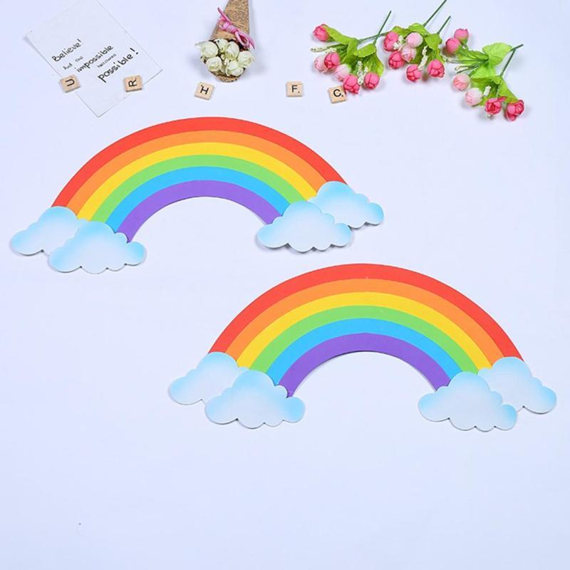 2ps 3D Rainbow Wall Sticker Sponge EVA Wallpaper For Kids Room School Nursery Home Decor DIY Window Sticker Removable Decal G25