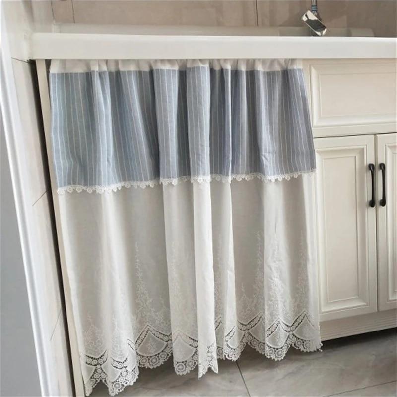 rideau court en dentelle blanche pour porte d armoire de cuisine double rideau bleu clair pour salon chambre a coucher decoration de fenetre qt039