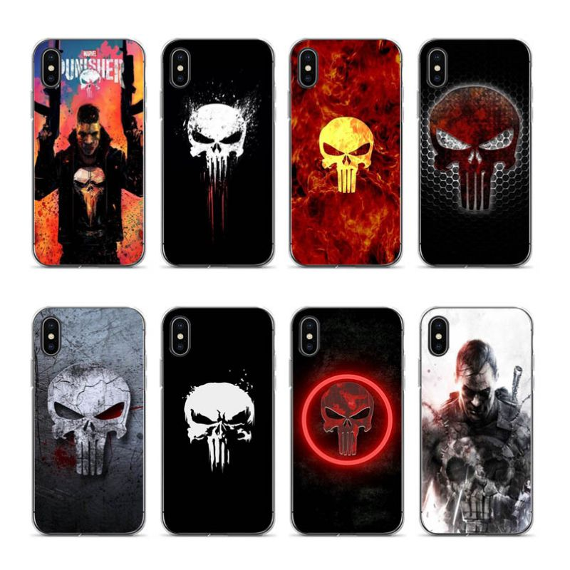 Aiboduo The Punisher Skull Transparent edge coque Cover case for Apple iPhone 5s 6 6plus 6s