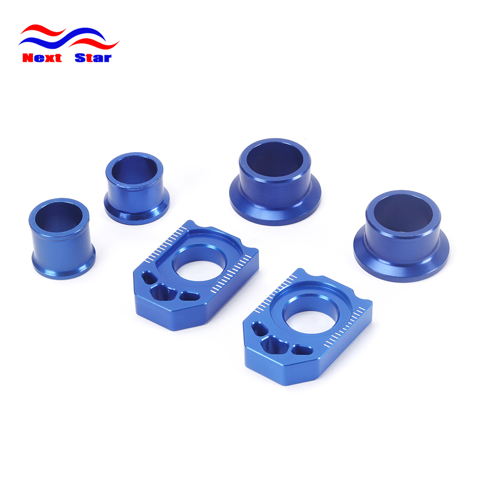 Motorcycle CNC Front Rear Billet Wheel Hub Spacers Chain Adjuster Axle Block For YAMAHA YZ250F YZ 250F 12 13 YZ450F 2010-2013 cnc billet aluminum front