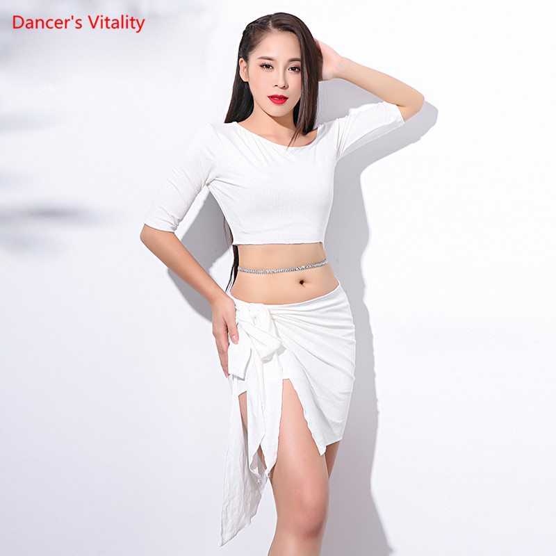New Lady Women Belly Indian Oriental Dance Boat Neck Irregular Dress Suit Competition Costume Knitted Outfits Garments Dance