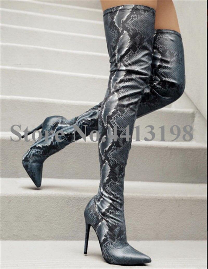 Haute Over as Picture Femme Super Européenne Motif As Bottes Zip Cuisse Bout Talon Pointu Picture Serpent genou Femmes Chaussures the Talons Mince wmN0vn8