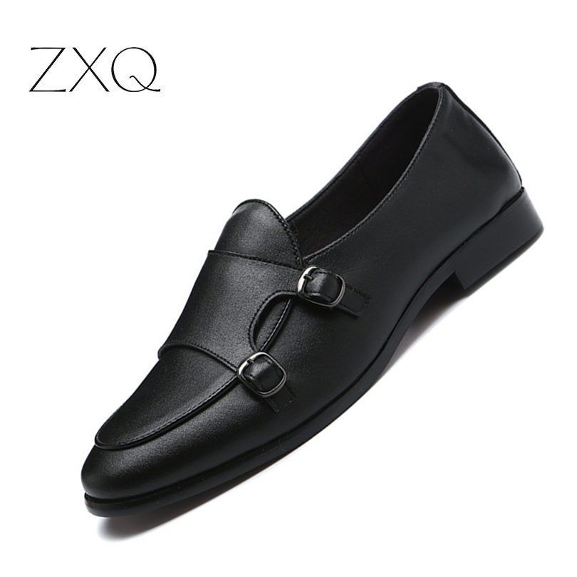 Italian Mens Shoes Casual Brands Slip On Formal Shoes Double Buckle Men Loafers Moccasins Genuine Leather Driving Shoes