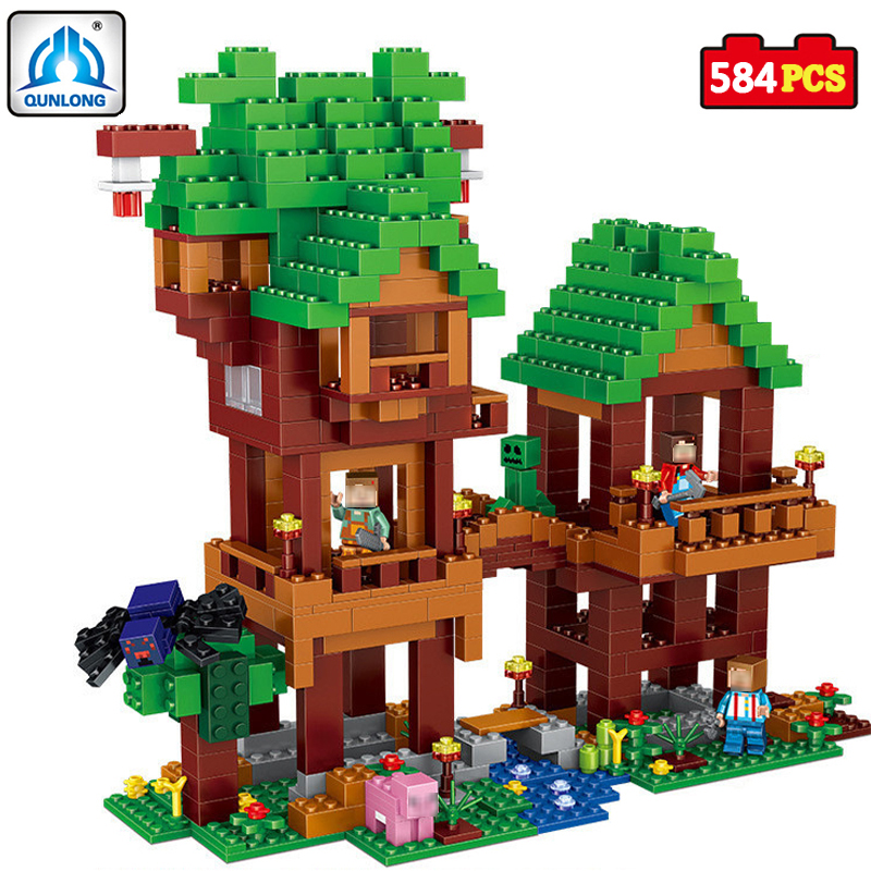 584pcsVillage Building Blocks Compatible Lepin Boy Girl Toys Compatible Legoe Minecraft City Bricks DIY For Children Friends Gif hot sembo block compatible lepin architecture city building blocks led light bricks apple flagship store toys for children gift