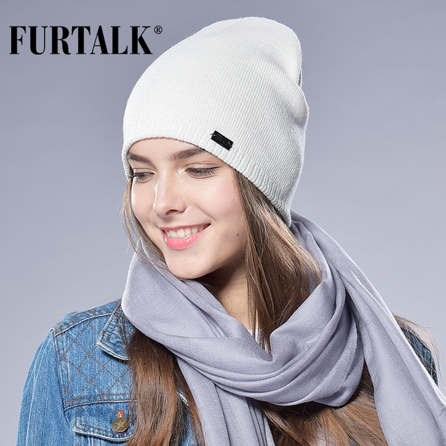 FURTALK Autumn Winter Watch Cap Woman Wool Knit Beanie Cap Braided Hat