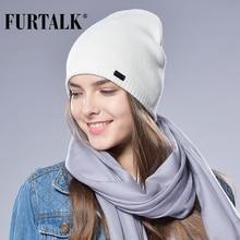 70144c9a944 FURTALK Autumn Winter Watch Cap Woman Wool Knit Beanie Cap Braided Hat (China)