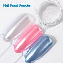 2G/Box DIY Diamond Mermaid Pearl Matte White Nail Art Glitter Chrome Powder Dust For UV Gel