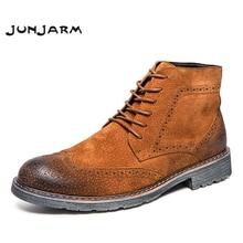 JUNJARM Genuine Leather Men Boots Autumn Winter Men Ankle Boots Fashion Lace Up Shoes Men High Quality Vintage Men Brogue Shoes