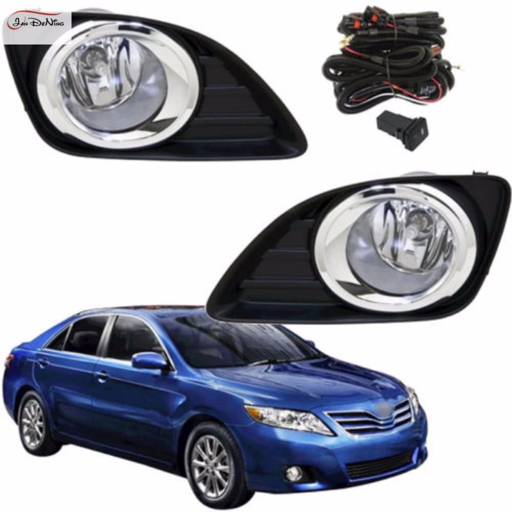 JanDeNing Car Fog Lights For 2010-2011 Toyota Camry  Clear Front Fog Lights Halogen bulb Bumper Lamps Kit (one Pair) 1set front chrome housing clear lens driving bumper fog light lamp grille cover switch line kit for 2007 2009 toyota camry