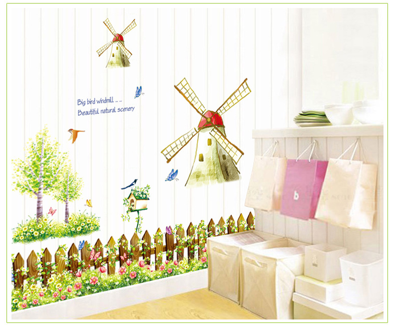 Windmills Bird Poster Nature Plant Sticker Home Dec Funny hall Bedroom for Children Joy Wall Sticker Decal Poster Home Decor