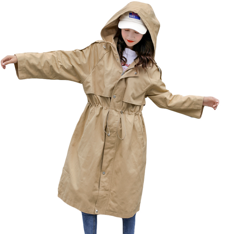 2019 Plus Size 3XL Spring Autumn   Trench   Coat Solid Zipper Hooded Casual Fashion Women Long Windbreaker Female Outwear LP469