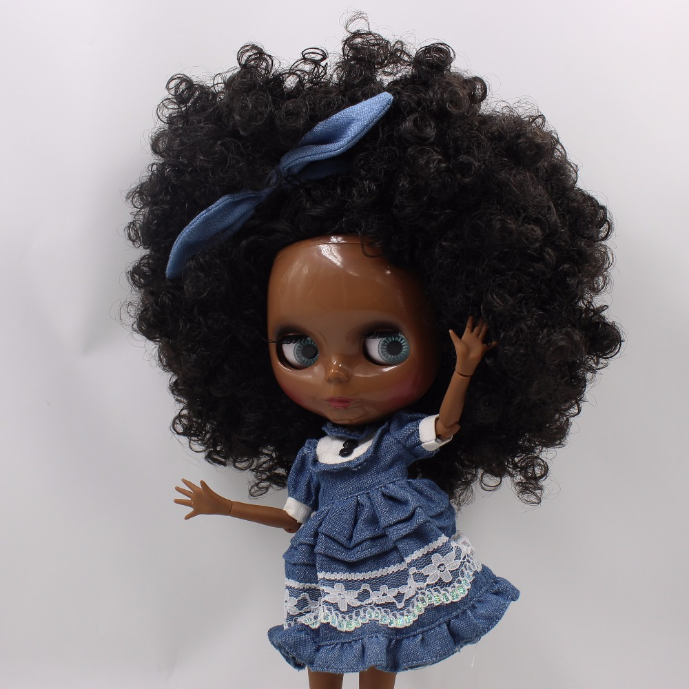Neo Blythe Doll with Black Hair, Black skin, Shiny Face & Jointed Body 3