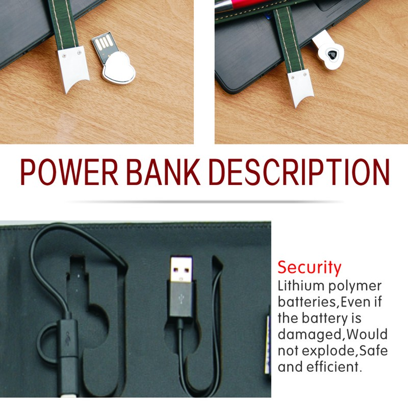 High grade office diary with power bank U flash disk A5