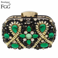 Boutique De FGG Green Emerald & Black Beaded Women Evening Clutch Wedding Party Dinner Handbags and Purses Chain Shoulder Bag