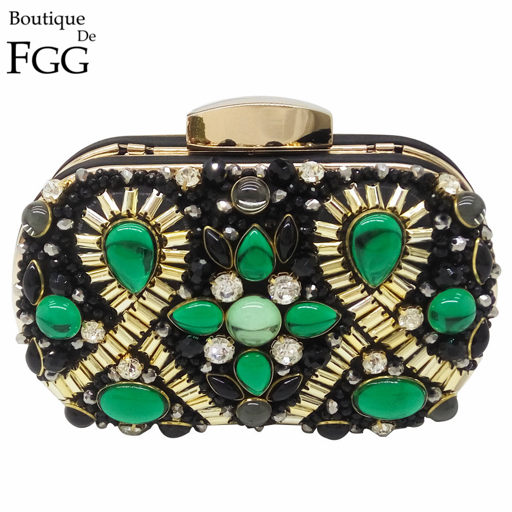 Green Emerald Crystal Black Beaded Metal Women Evening Clutch Bags Wedding Party Bridal Handbags and Purses Chain Shoulder Bag makegood uk standard touch switch 3 gang 1 way crystal glass panel wall switch for smart home ac110 240v led indicator