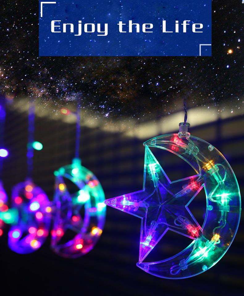 LED étoiles Lune Rideau Guirlande Lumineuse éclairage de Vacances