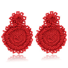 Fashion Bohemian Ethnic Geometric Handmade Rice Beads Earrings Party Pendant Earrings For Women Jewelry Gifts Wholesale недорого