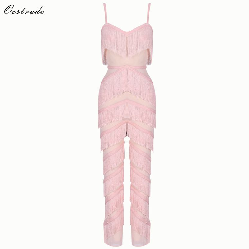 Ocstrade Hot New Trends 2019 Sexy V Neck Pink Sheer Mesh and Fringed Women Jumpsuit Bodycon