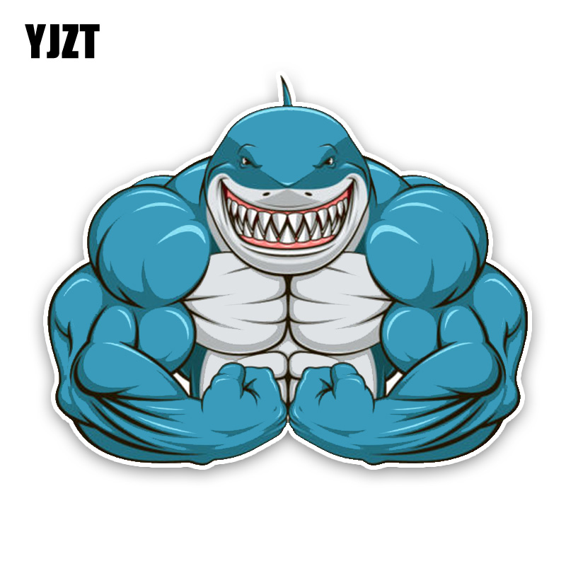 YJZT 15*12.2CM Interesting Aggressive Shark Exercise The Muscle Cartoon Colored PVC High Quality Car Sticker Decoration C1-5424