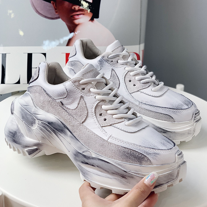 2019 Spring Autumn Shoes Women Platform Shoes Lady Lace Up Casual Pumps Creepers Harajuku Punk Sneakers Girl Female Silver Shoes (18)