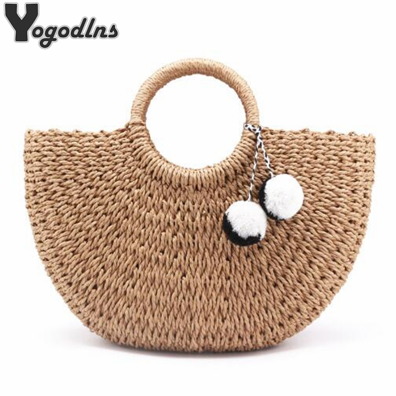 Summer Handmade Bags For Women Beach Weaving Ladies Straw Bag Wrapped Beach Bag Moon Shaped Top Handle Handbags Totes