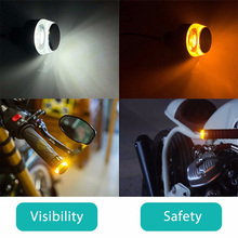 цена на newest 2pcs Flashing Motorcycle Handlebar Top Led Motorcycle Turn Signal Light White Turn Amber Indicator  Universal Motorcycle