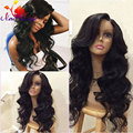 Hot Lace Front Long Wavy Wigs Synthetic Fiber Heat Resistant Synthetic Lace Front Wig Black Synthetic Hair Wigs for Black Women