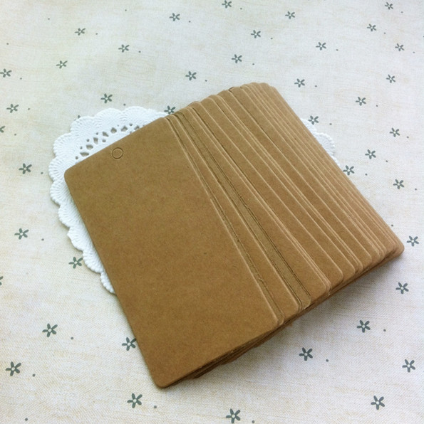 product 5*9cm 100pcs DIY Square Packaging Labels Blank Word Cards Brown Food Gift Tag Wedding Party Tabel Decoration