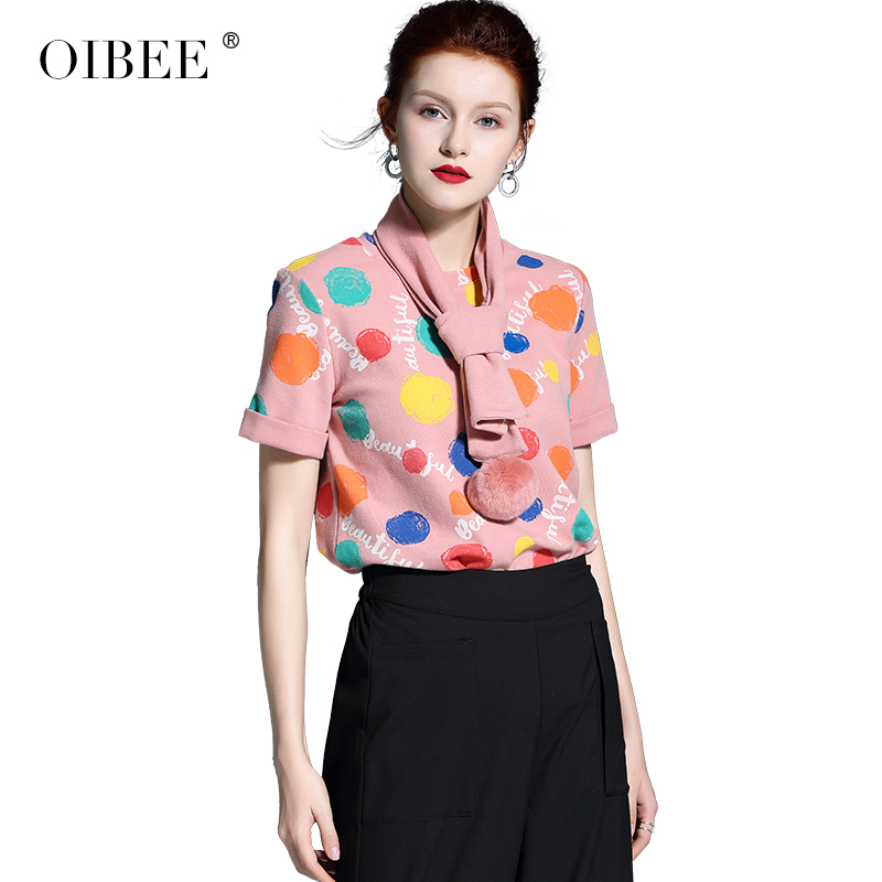 Nouvelle Mode Impression Black À Deux coffee De Manches Printemps Écharpe Color pink Courtes Femmes T shirt pièce Chemise Rose Oibee2019 qBwItFSx