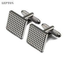 Лептон классические бизнес квадратные черные запонки для мужчин