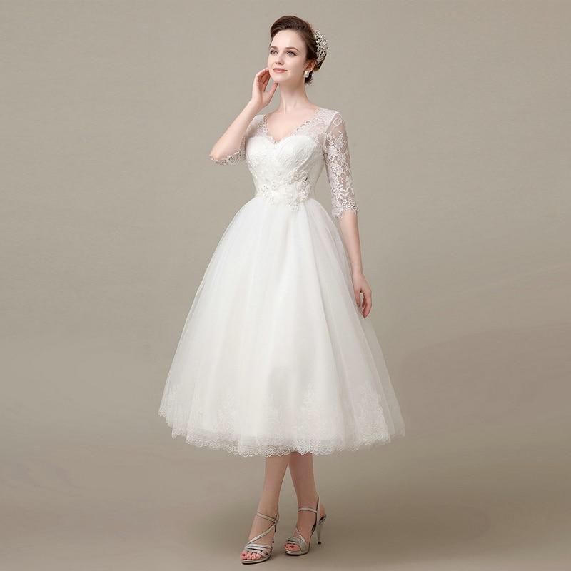 Hot Sale Half Sleeve Cheap Mid Calf Wedding Dresses Short