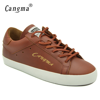 CANGMA Breathable Hot Sale Women Sneakers Casual Shoes Genuine Leather Footwear Designer Womans Fashion Flats Female Brown Shoes