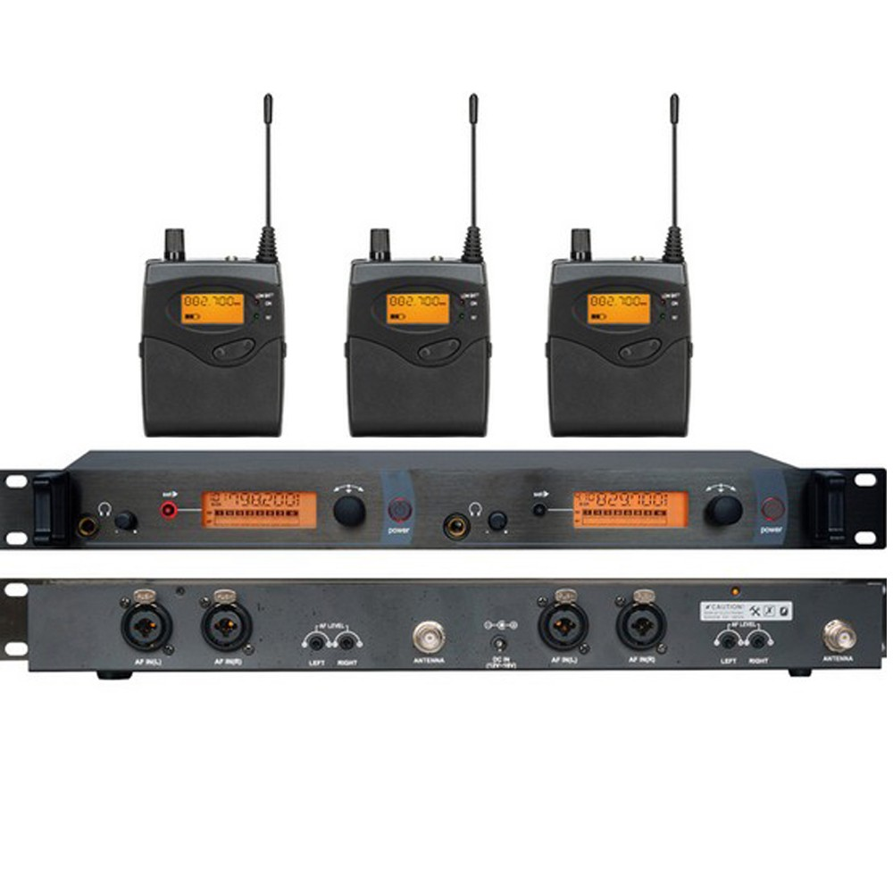 3 Receivers UHF Wireless In Ear Monitor System for Stage performance with MONO free shipping micwl g3 dual channel uhf wireless monitor monitoring system 1 transimtter with multiple receivers