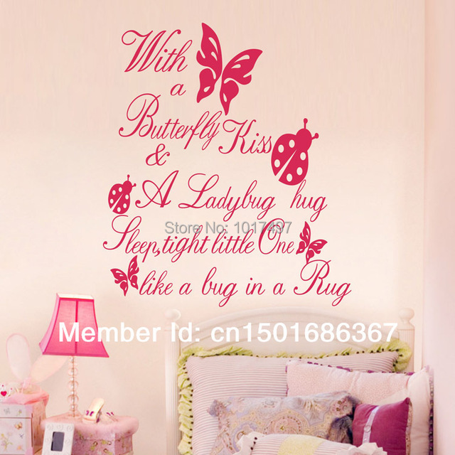 Free Shipping Ebay/Amazon Selling With A Butterfly Kiss Vinyl Wall Art  Quote Sticker For