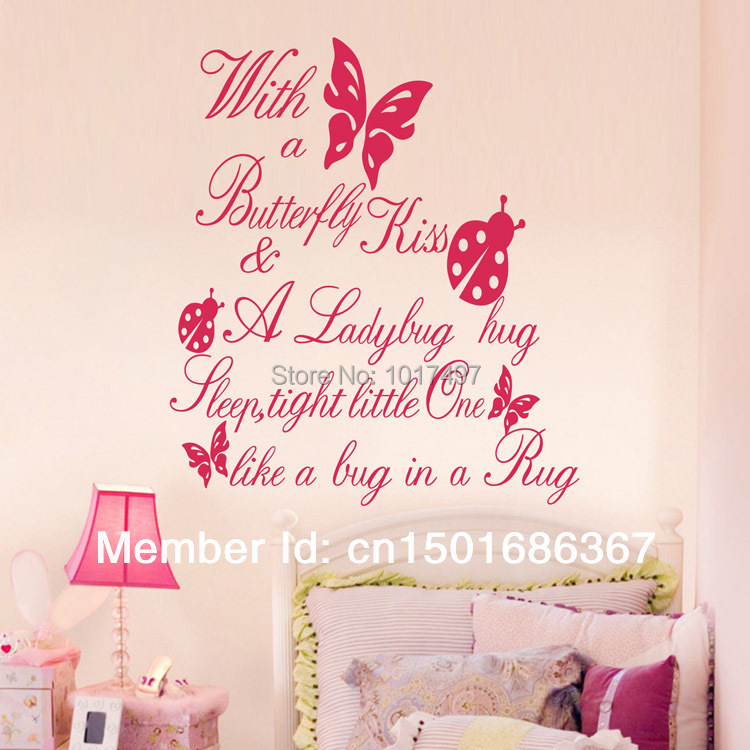 Free Shipping Ebay Amazon Selling With A Butterfly Kiss Vinyl Wall Art Quote Sticker For Kids Girl Room Decor Q0021