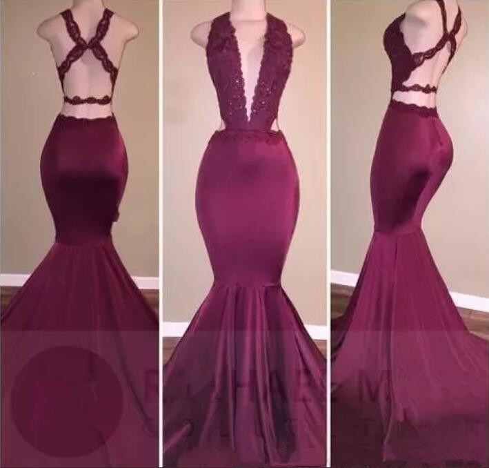 New Sexy Mermaid Prom Dresses Plunging V Neck Lace Crystal Beaded Burgundy Open Back Long Evening Dress 2017 Party Pageant gown