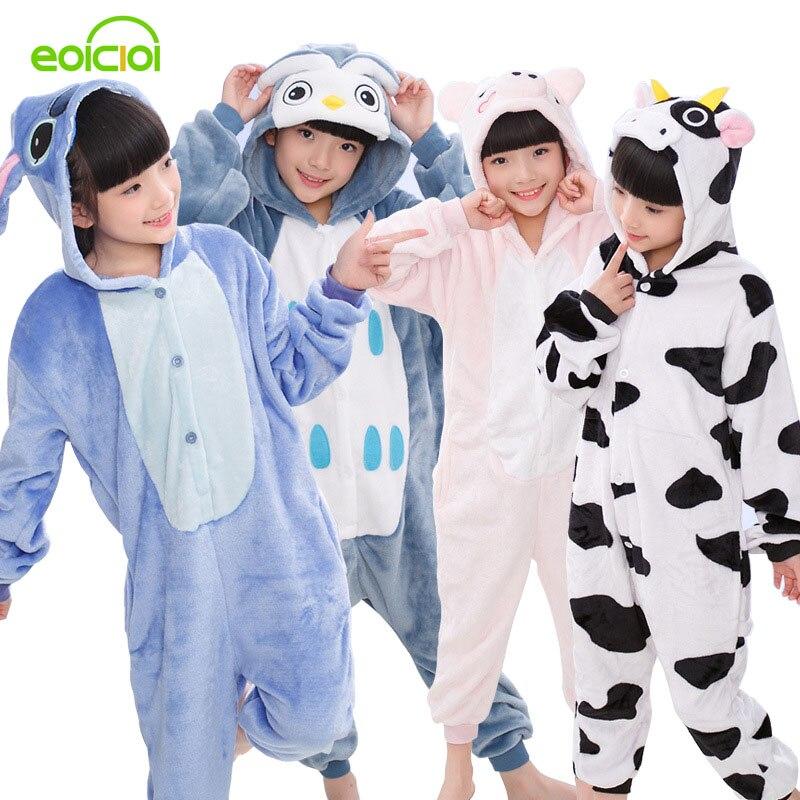 все цены на EOICIOI New Flannel Kids Pajamas Animal Unicorn Stitch Pikachu Cosplay Onesies Children Sleepwear For Boys Girls Pyjamas Hooded
