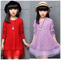 Nova chegada de moda meninas vestido de primavera e outono crianças camisola vestido