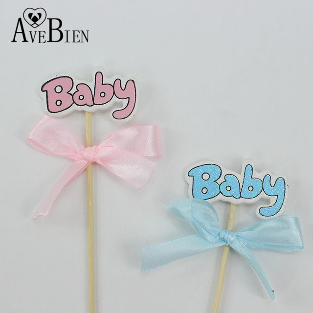 Avebien 10 Pcs Baby Shower Handmade Baby Letter And Wood With Ribbon