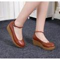 Tiras De Couro macio Sapatos Envoltório Tornozelo das Mulheres Pure Color Tamanho 4 Couro Bege Sapatos de Enfermagem Sapatos Casuais Mulheres de Couro Das Mulheres sapatos