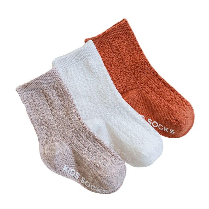 3 par/lote de calcetines para niños, calcetines de algodón antideslizantes a rayas para primavera y verano para niños, calcetines de algodón para niñas