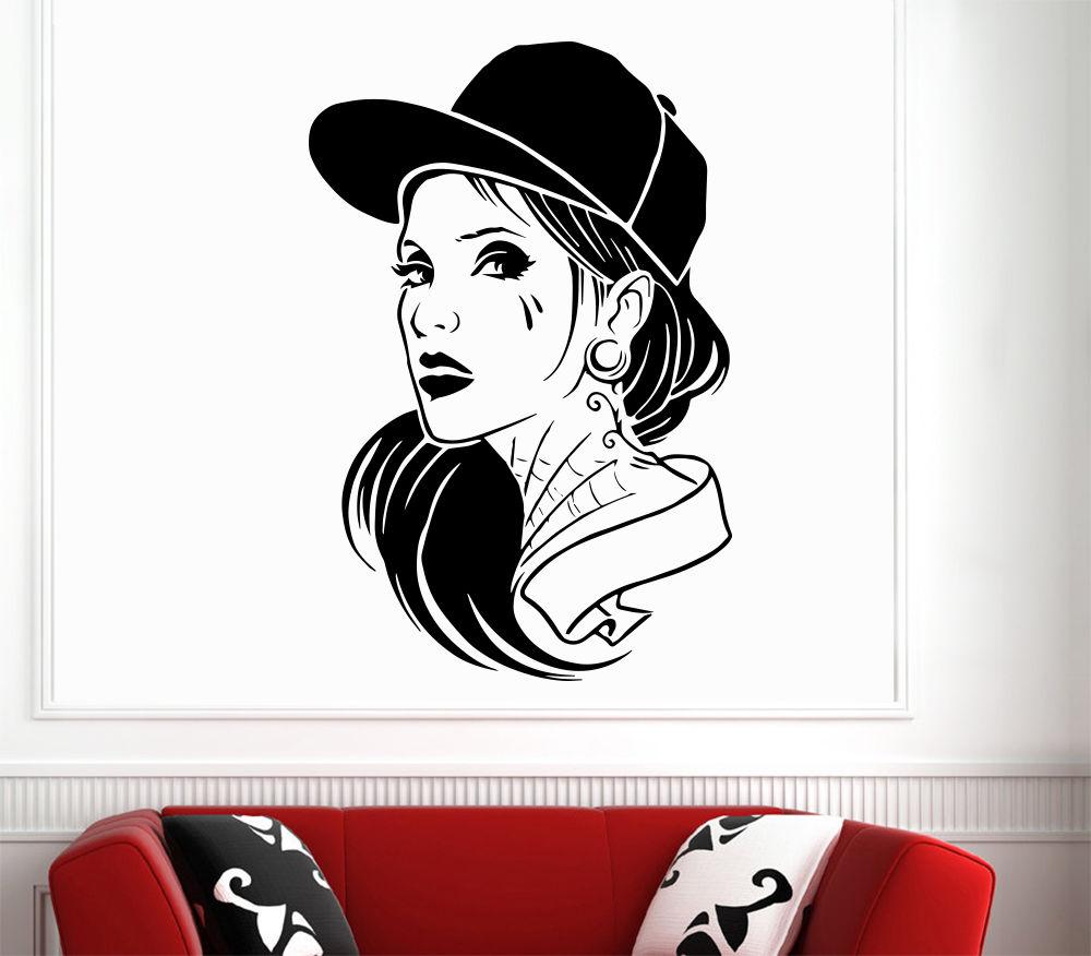 Free shipping Fashion Hip-Hop Girl Long Hair Cap Tattoo Art Decal Wall Sticker Grooming Salon Barber Shop Decor Vinyl