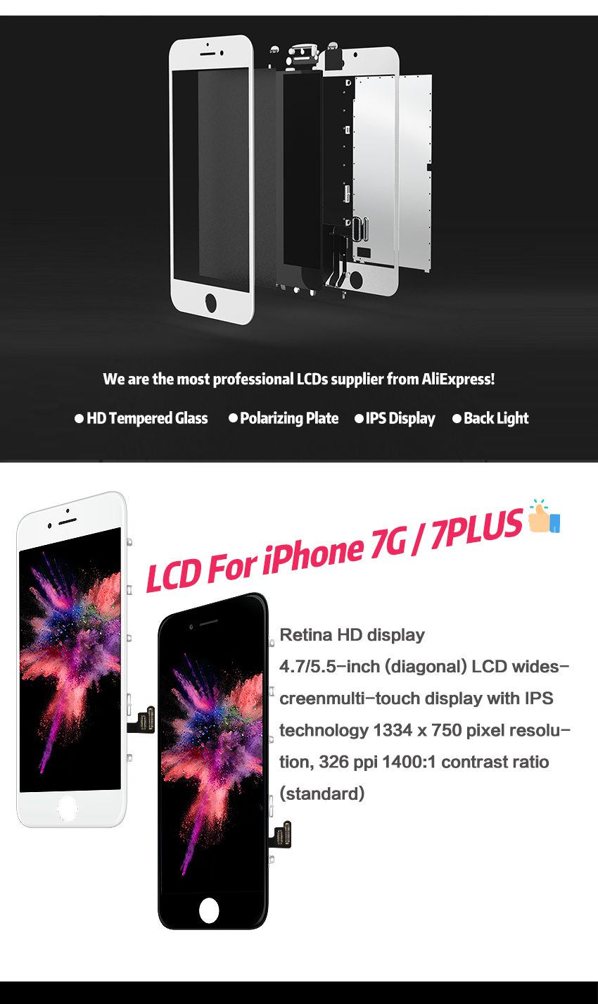 HTB1.tbKXIrrK1RjSspaq6AREXXaE AAA+++ Quality LCD For iPhone 7 7Plus Screen Replacement For Apple 8 8Plus No Dead Pixel Display 100% With 3D Touch Warranty