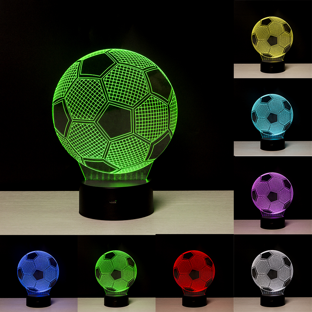 3D LED Lamp Football Remote Control LED Desk Table LED Night Light kid 7 Color Touch Lamp Family Holiday Gift Home