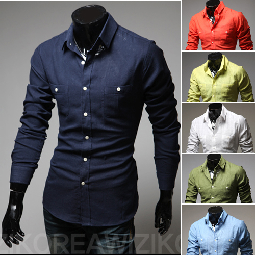 9d0e3eac6 Double Pocket Design Fashion Stylish Mens Shirts Slim Fit Casual Cotton  Men's Dress Shirts 6 Colors M-XXL Free Shipping
