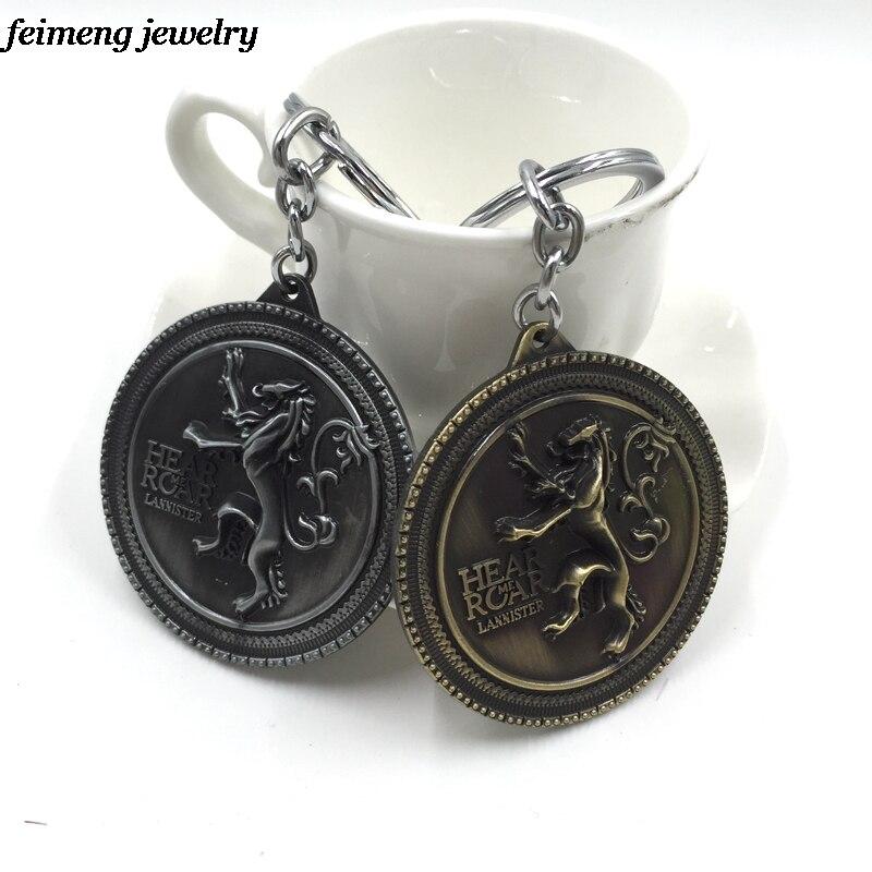 Baru Kedatangan Game Of Thrones Rock House Lannister Singa Keychain Lambang  Keluarga 5.5 5.7 cm Logam Gantungan kunci Keyring pria Perhiasan ea562b3018