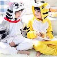 Girls Cute Cheese Cat Tiger Pajamas Warm Autumn Winter Homewear Children S Pajamas Cartoon Animal Onesies